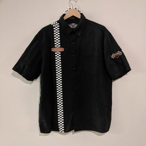 💯 Cotton Vintage HD Racing Button Down Shirt L